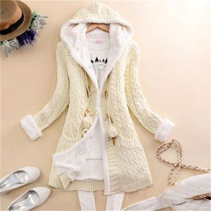 Solid Hooded Long Thicker Cashmere Knit Cardigan Sweater Coat