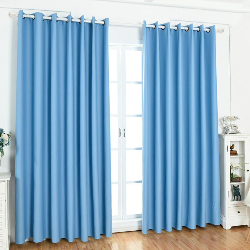 1pc Plain Color 100% Blackout Lined Curtain Perforated curtains