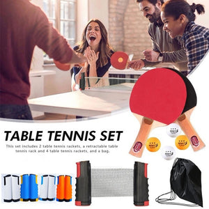 Table Tennis Ping Pong Set 2 Paddle Bats + 4Balls +Retractable Extending Net