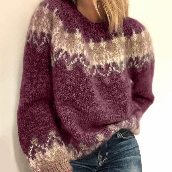 Women's Fashion Long Sleeve Knitted Sweater Pullover
