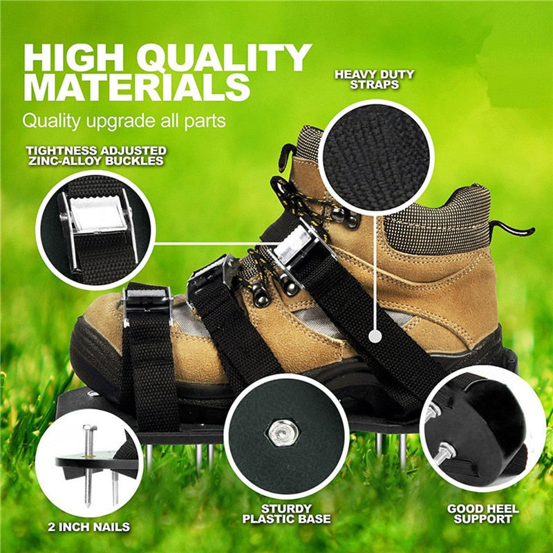 Garden PP Lawn Aerator Shoes Sandal Aerating Spike Grass Pair Green Spiked Tool Black