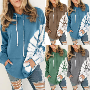 Women Tie Dying Long Sleeves Hoodies With Pocket