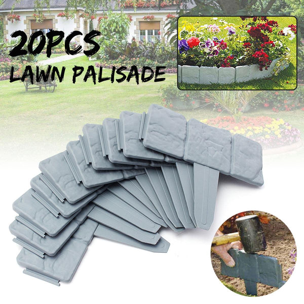 Grey Garden Fence Edging Cobbled Stone Effect Plastic Lawn Edging Plant Border Decorations Flower Bed Border