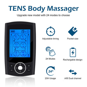 24Modes Rechargeable TENS Unit Muscle Stimulate Machine