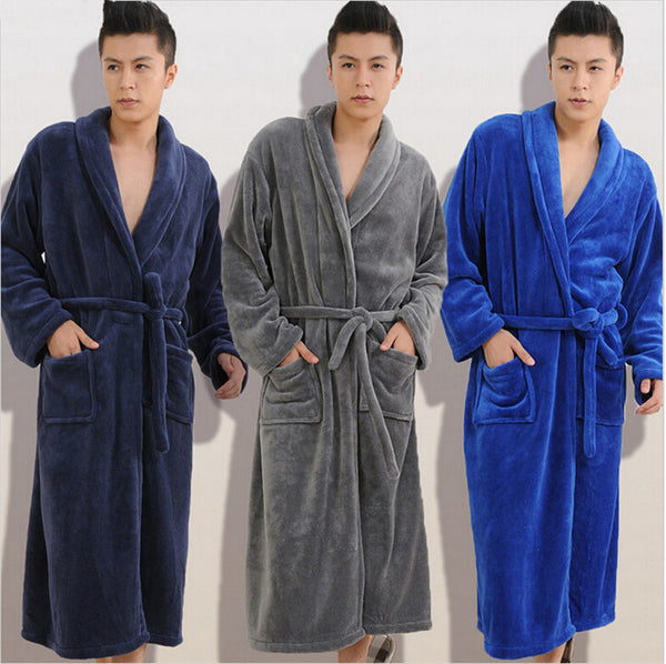 Winter Autumn Thick Flannel men's homewear male sleepwear lounges