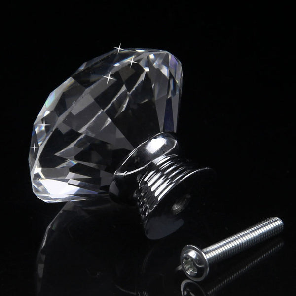 30/40MM Crystal Clear Glass Door Knobs Diamond Drawer Cabinet Furniture Kitchen