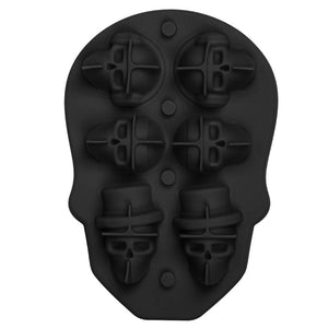 6-Head Skull Shape 3D Ice Cube Mold Maker Bar Party Silicone Trays Mould Hot UK