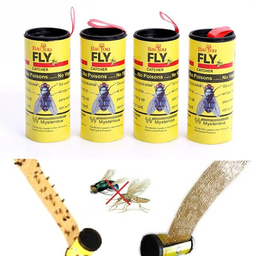 4 pcs High Effective Insects Glue Tape Strips Catcher Non-toxic Pest Control Insect Control Toxic Mosquitos Killer Cathcer