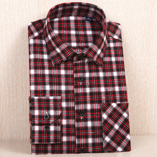 New Autumn Winter Flannel Casual Shirt Men Shirts Long Sleeve Chemise Home Cotton