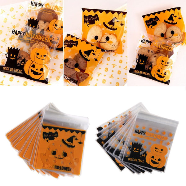 100pcs Halloween Cellophane Candy Bags Trick or Treat Self Adhesive Pouch