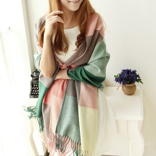 Women Winter Warm Soft Scarf Classic Plaid Knit Long Scarves Wrap Shawl Stole