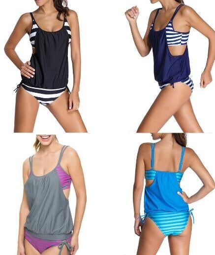 Women's stripes Lined up double up tankini top swimwear