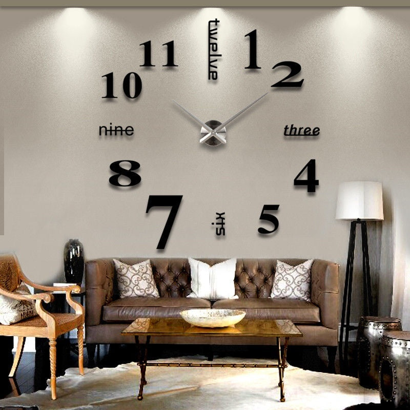 DIY 3D Wall Clock Large Size Mirrors Surface Home Decoration Luxury Art Clock