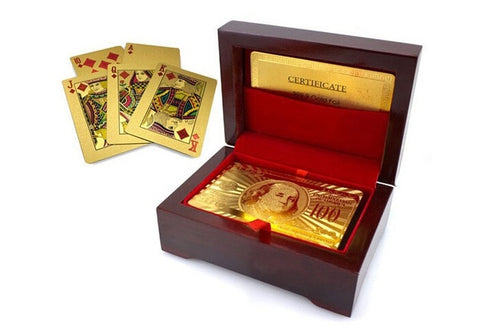 24K Karat Gold Plated Poker Playing Card +Nice Wood Box