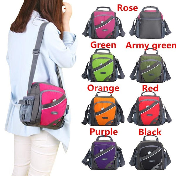 New Unisex Nylon Crossbody Bag Waterproof Contrast Color Zipper Multi-Pockets Casual Sport Outdoor Small Shoulder Bags