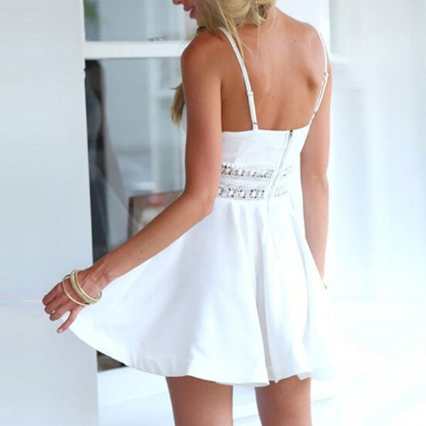 Women Sexy V Neck Backless Dress Lace Stitching Strappy Swing Short Mini Dress
