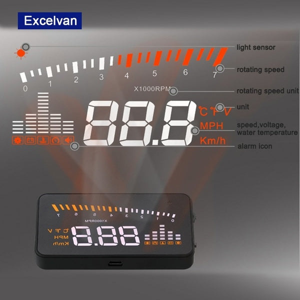 Excelvan HUD Projector Head Up Display Speed Warning Fuel OBD II Speedometer