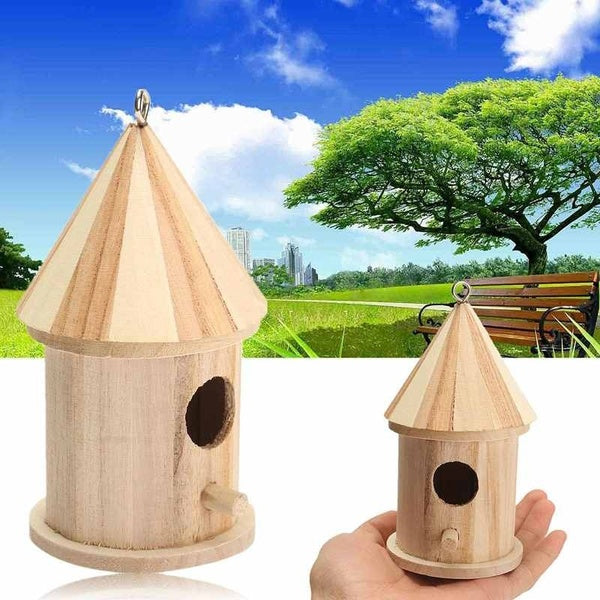 Wooden Bird House Birdhouse Hanging Nest with Loop Home Garden Yard Decors