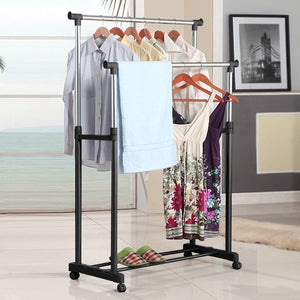 Double Rail Adjustable Portable Clothes Hanger Rolling Garment Rack