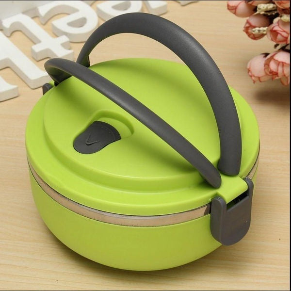 Multi-layer insulated lunch box stainless steel large capacity round lunch box student lunch box office lunch box picnic supplies