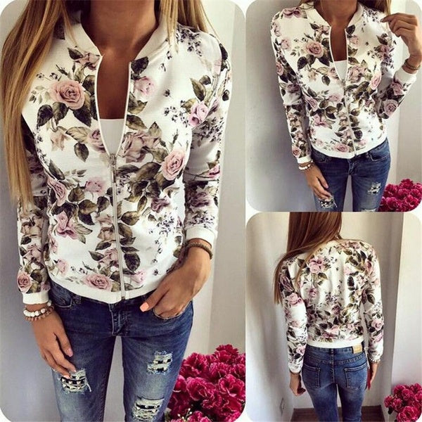Women's Floral Print Short Blazer Jacket Coat Sport Suit Flower Outerwear