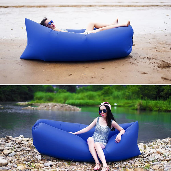 Outdoor Hangout Fast Inflatable Sleeping Bed Sofa Camping Beach Lazy Air Bag