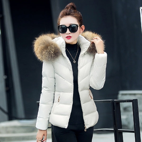 Woman hooded fur Warm padded Parka Coat