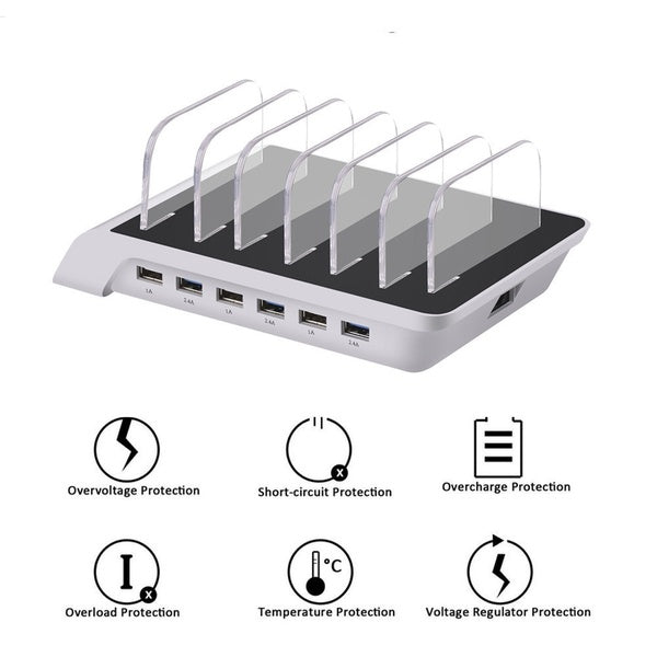 6 Ports Universal USB Charging Station Hub Dock Desktop Tablet & Smartphone