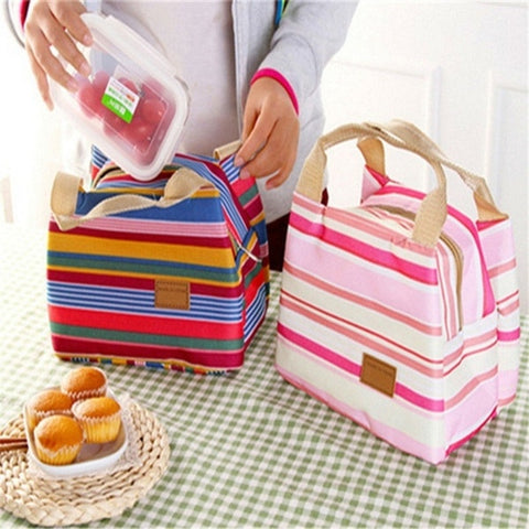 Insulated Bag Canvas Stripe Picnic Portable Carry Case