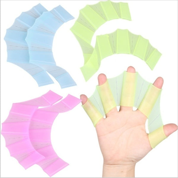 1 Pair Silicone Swim Hand Fins Swimming Pool Half Finger Flippers Swim Training Web Gloves Monofin for Adult Kids