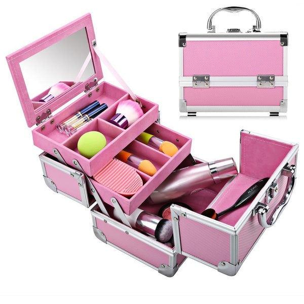 Portable Extendable Makeup Train Jewelry Storage Box Case Aluminum Cosmetic Lockable Case Organizer + Mirror + 2 Keys