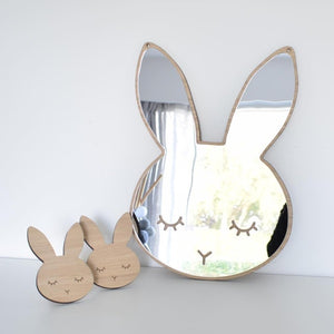 Nordic Cartoons Cute Rabbit Acrylic Mirror Wooden Frame Wall Stickers Baby Camera Photography Props Kids Room Mural Decoration