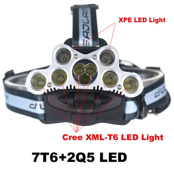 100000LM 7X & 9X XM-L T6 LED Rechargeable Headlamp Headlight Travel Head Torch