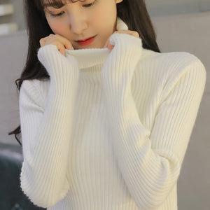 Women Turtle neck Thicken Pullovers High Neck Knitting Sweaters