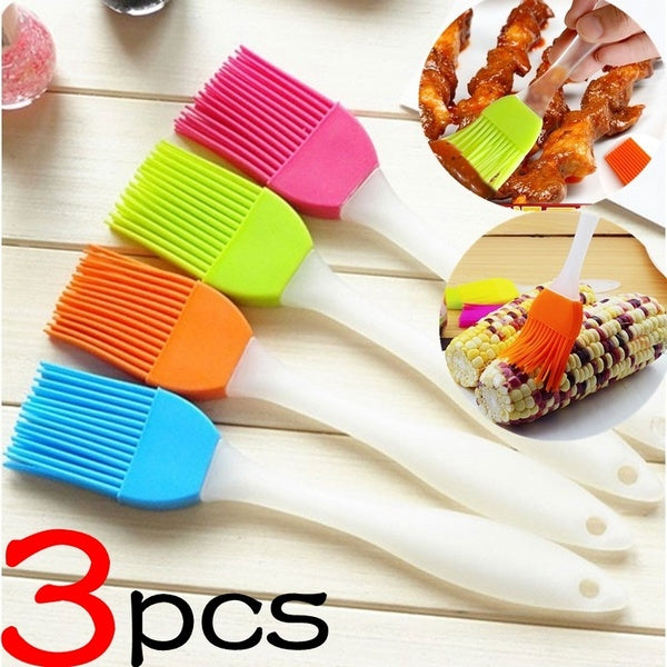 3 Pcs Silicone Baking Bakeware Bread Cook Pastry Oil Cream BBQ Utensil Basting