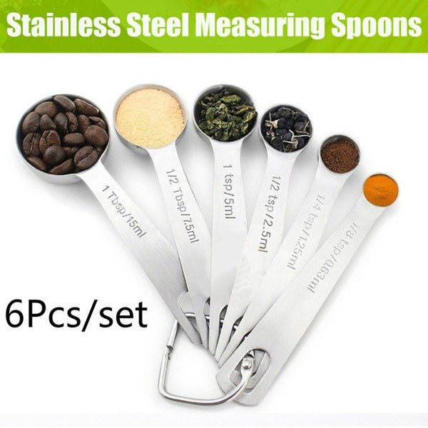 6 pcs/set Stainless Steel Coffee Measuring Spoon Set Baking Cooking Tools Kitchen Accessories
