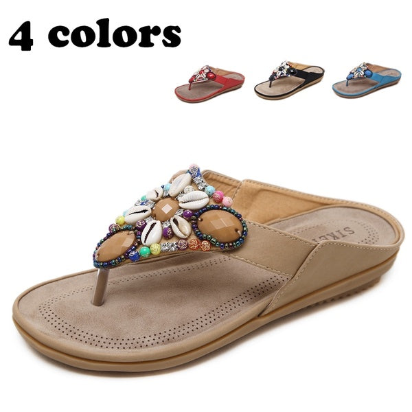 Women Bohemian Sandals Beach Shoes Slippers Flip Flops Nationality Style