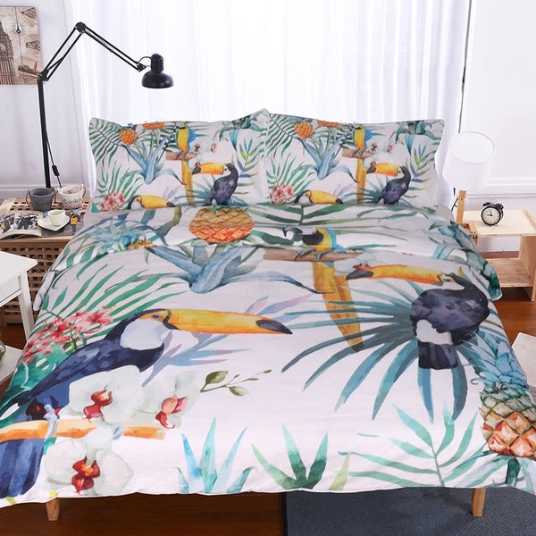 Toucan Duvet Cover With Pillowcase Tropical Plant  Bedding Set Soft Flower Quilt Cover