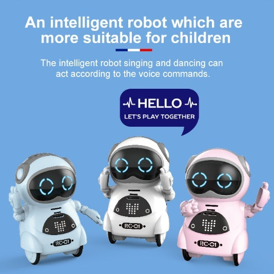 Mini Pocket Robot Multi-Functional Voice Dialogue Light Dance Robot Toy Kids Gift