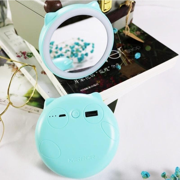 Cosmetic Mirror Portable External Battery Charger Mobile USB Phone Fast Charging Power Bank Led Fill Light