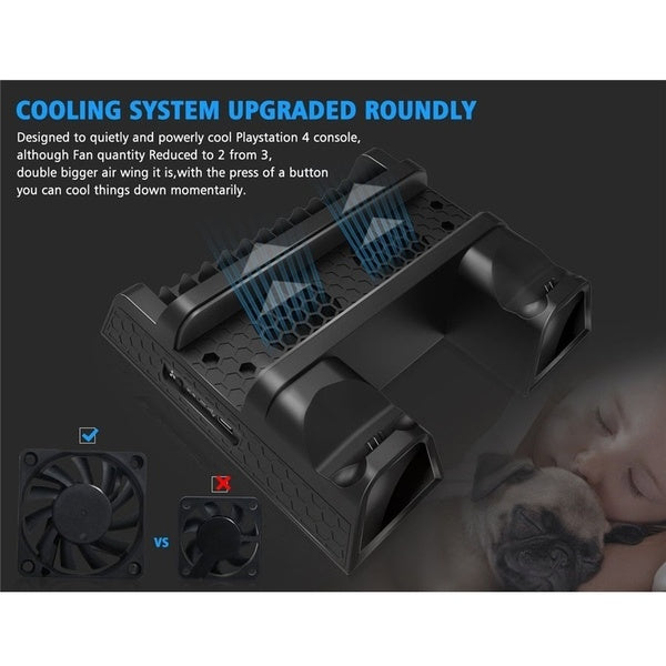 Cooler Multi functional Cooling Vertical Stand PS4 Dual Controller Charger Docking Station