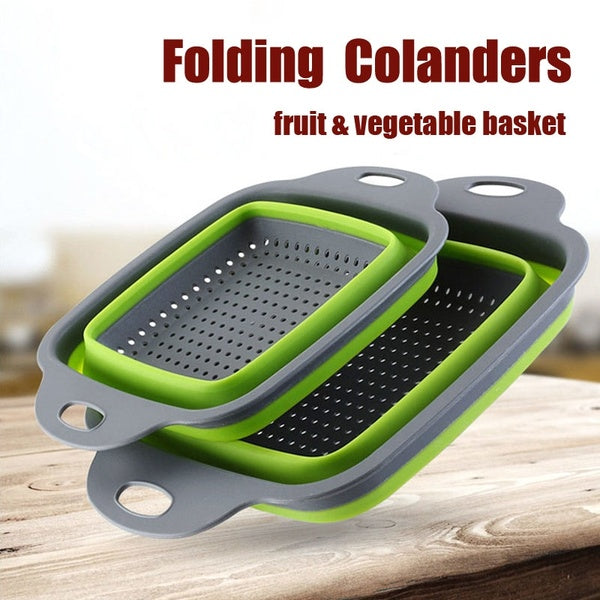 2 Pcs Kitchen Collapsible Colander Fruit Vegetable Washing Drain Basket