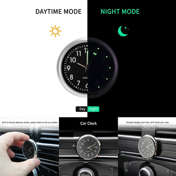 Car Ornament Glow Automotive Clock Auto Watch Automobiles Interior Decoration Stick-On Clock Ornaments Accessories