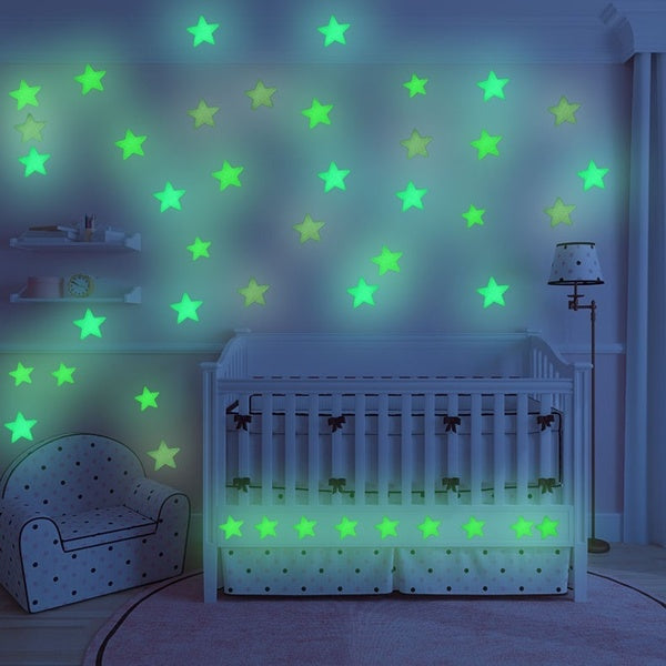 100pc Glow In The Dark Wall Stickers Star Reflective Kids Room Decor