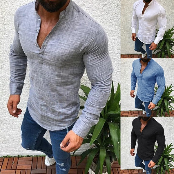 Men Long Sleeves Polo T Shirt Slim Fit Tees Tops