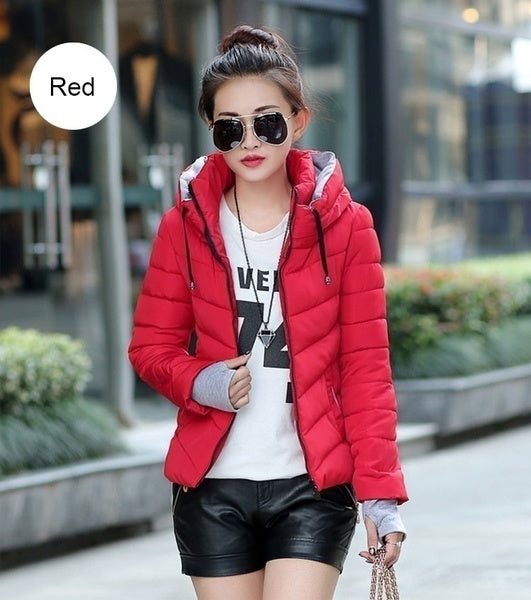 Womens Parkas Thicken Outerwear solid hooded Coats Short Female Slim Cotton padded basic tops
