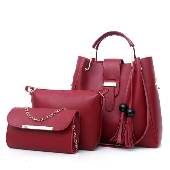 3Pcs/Sets Women Handbags Leather Shoulder Bags Casual Tote Bag Tassel Bucket Purses And Handbags