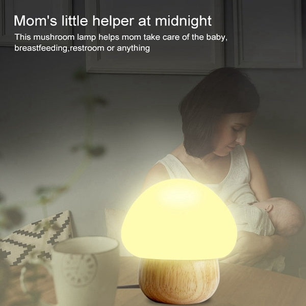 LED Mushroom Night Lamp Soft Silicone Lampshape Rubber Wood by Touch on/off,Magnet fixed