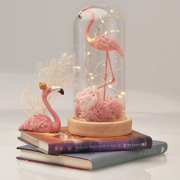 Flamingo Romantic Eternal Rose Flower with Beauty Led Light Glass Cover for Gifts