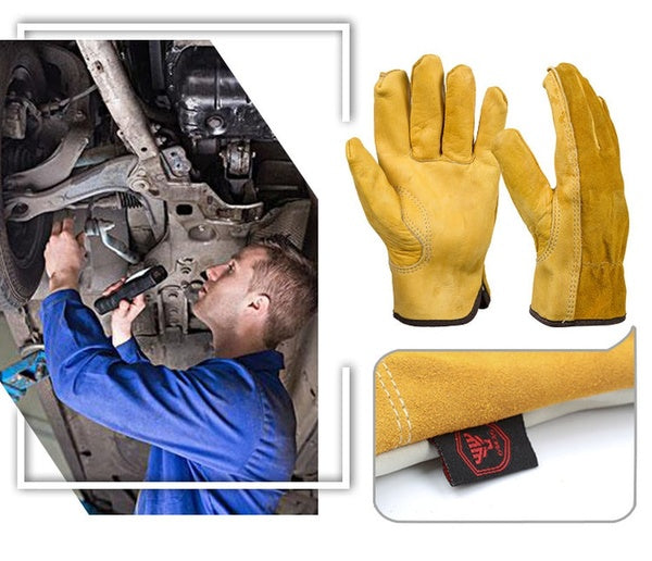 Work Gloves Cowhide Leather Men Working Welding Gloves Safety Protective Garden Sports